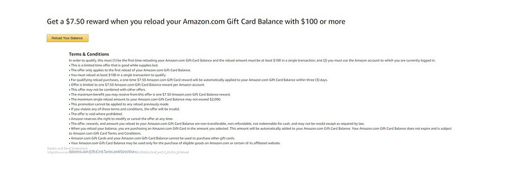 $7.55 Amazon gift cards balance reloading benefit