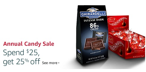spend $25, get 25% off chocolate candy
