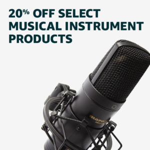 Memorial Day promo code 'MD20OFF' on musical instrument products
