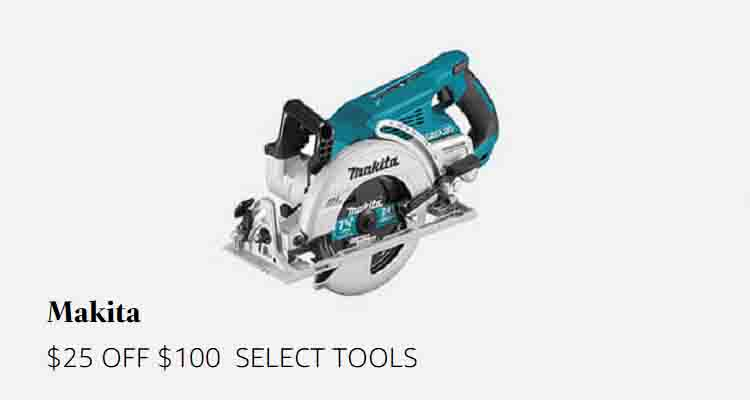 $25 off $100 Makita tools