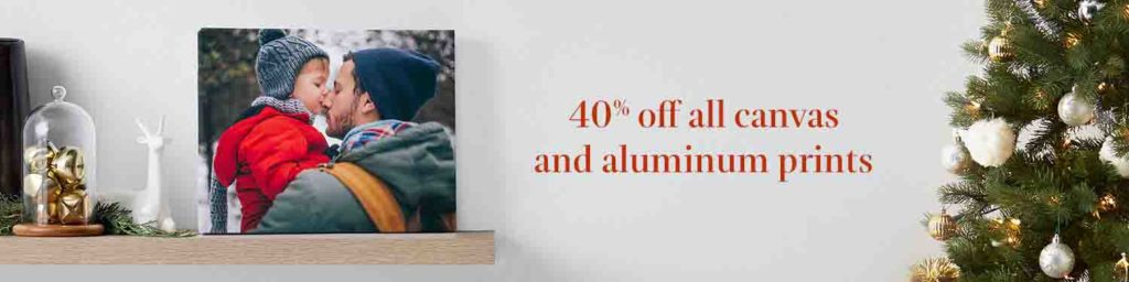 Promo code 'HOLIDAYDECOR40' for 40% off photo canvases, aluminum prints, and large prints