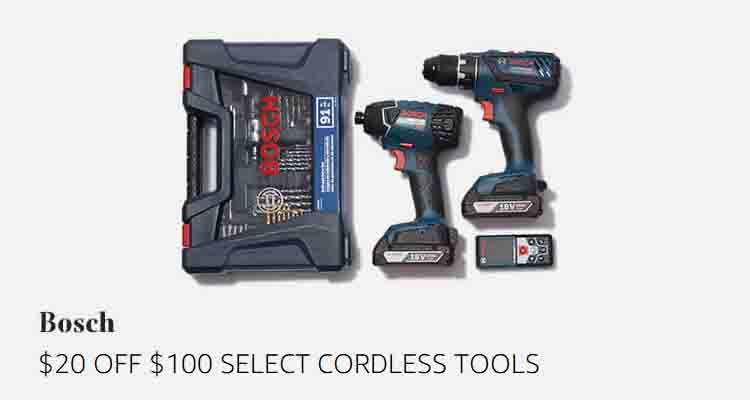 $20 off $100 select Bosch cordless tools