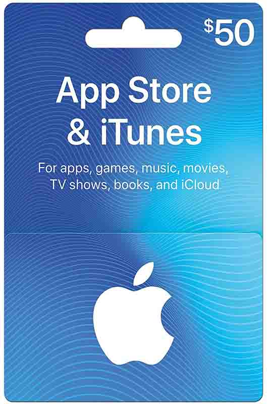 promo code 'ITUNES' on purchase of $50 iTunes App Store Gift Cards