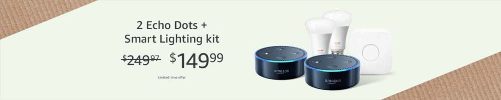 promo for bundling purchase of Philips Hue White Starter Kit and Amazon Echo Dot