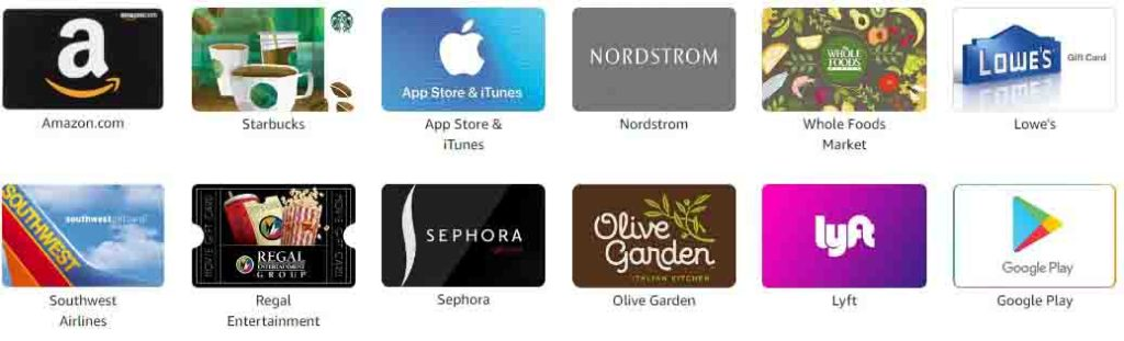 Dozens of promo codes at Amazon Gift Cards by Brand, offering