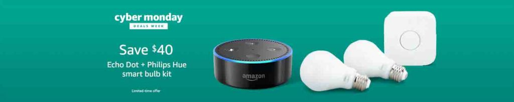 Extra $40 off promo for bundling purchase of Philips Hue White Starter Kit and Amazon Echo Dot