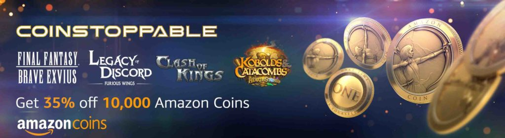 Coinstoppable promo code 'TOOEWNZGKO3' for 35% off 10,000 Amazon Coins