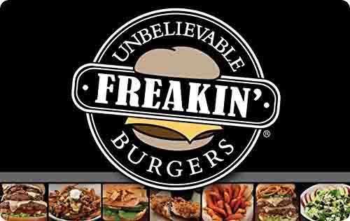 Promo code 'BURGER' on Freakin' Unbelievable Burgers gift card