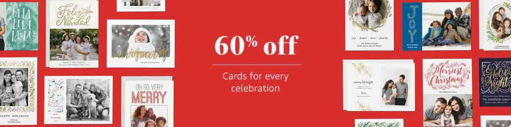 Promo code 'SEASONSGREETINGS60' offering for extra 60% off all kinds of holiday cards