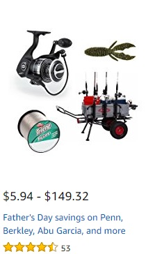 savings on fishing brands of Penn, Berkley, Abu Garcia