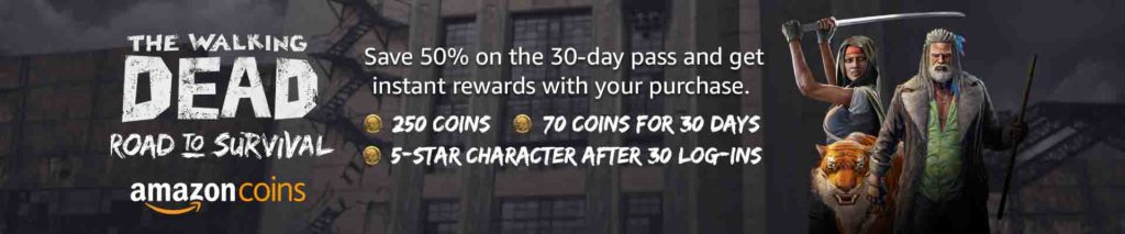 50% off Amazon Coins plus more coins rewards when purchase The Walking Dead: Road to Survival