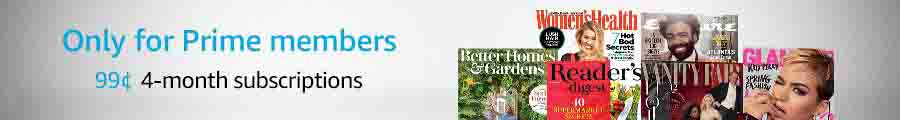 March promo for 4-month print magazine subscriptions at $0.99 by Amazon