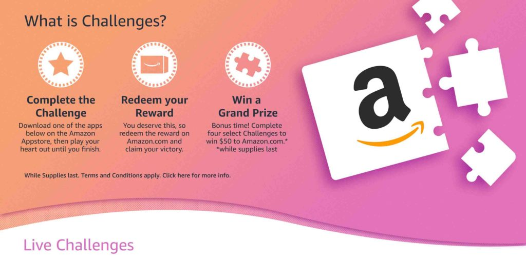 Play games with Amazon Coins to earn $1000 Amazon promo credit (Amazon Appstore challenges)