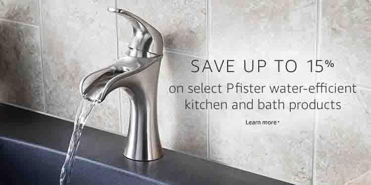 Extra 15% promo for savings on Pfister kitchen and bath products by Amazon