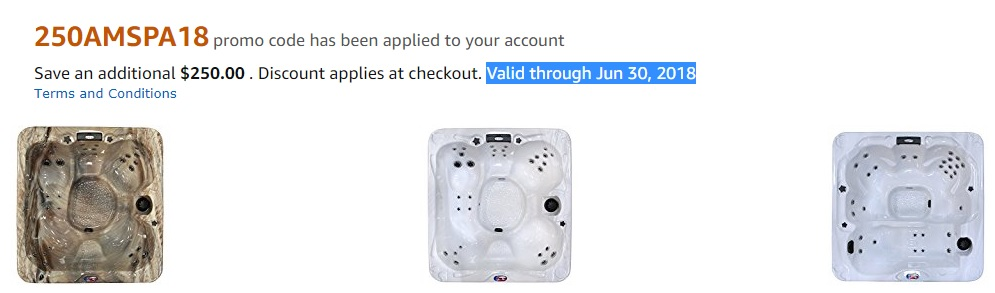 Promo code '250AMSPA18' for $250 off American Spas products on Amazon