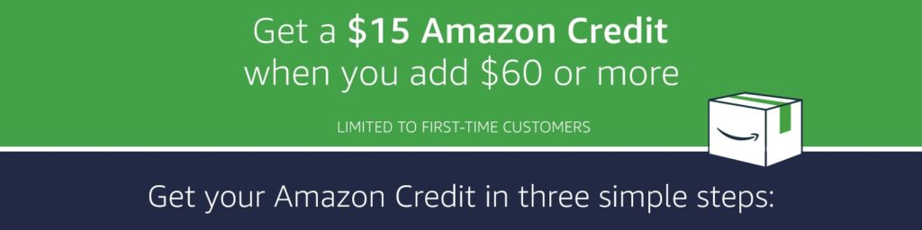 $15 free credit with Amazon Cash when adding $60