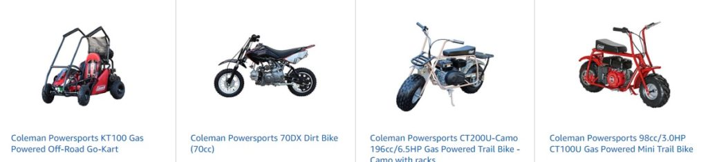 Promo code '20IRWINDALE' for 20% off Coleman Powersports