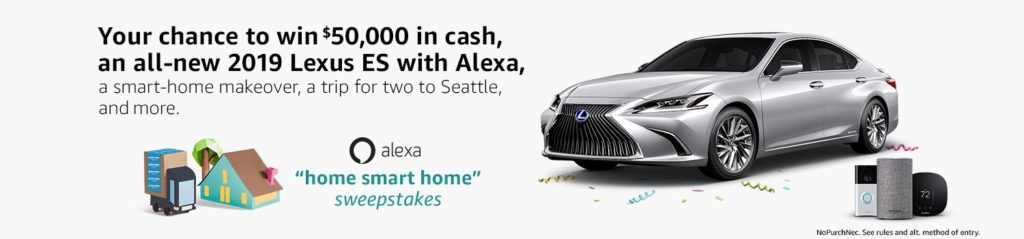 10 chances to win $50,000 and a 2019 Lexus ES at Prime Day 2018 Amazon Sweepstakes