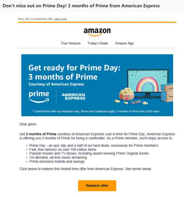 The latest benefits on promo through Amazon Prime Store Card