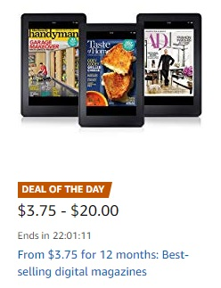 Flash promo on subscriptions to top print & digital magazines Amazon
