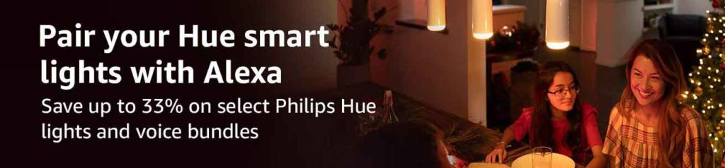 33% off or more promo for the bundling purchase of Philips Hue White Starter Kit and Amazon Echo Device
