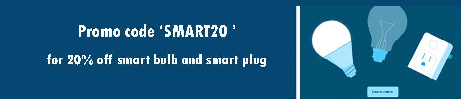 20% off promo code 'SMART20' for smart bulb & smart plug Amazon